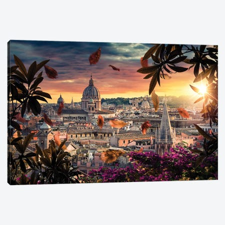 Rome Roofs Canvas Print #EMN95} by Manjik Pictures Canvas Art