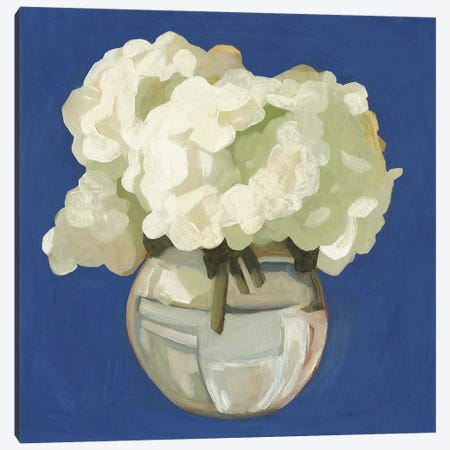 White Hydrangeas I Canvas Print #EMS139} by Emma Scarvey Canvas Art