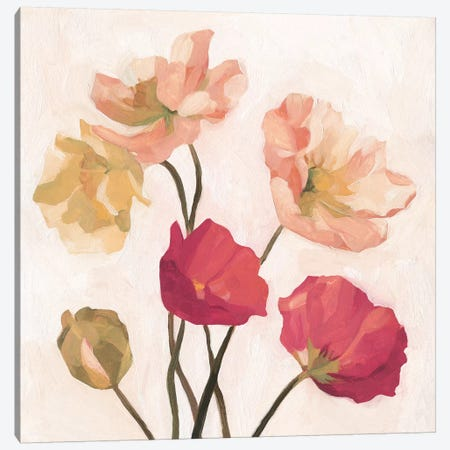 Summer Poppies I Canvas Print #EMS189} by Emma Scarvey Canvas Print