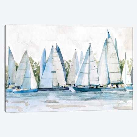 Pastel Marina II 3-Piece Canvas #EMS245} by Emma Scarvey Canvas Art Print