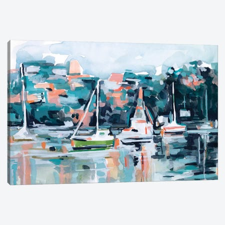 Watercolor Bay I Canvas Print #EMS256} by Emma Scarvey Canvas Artwork