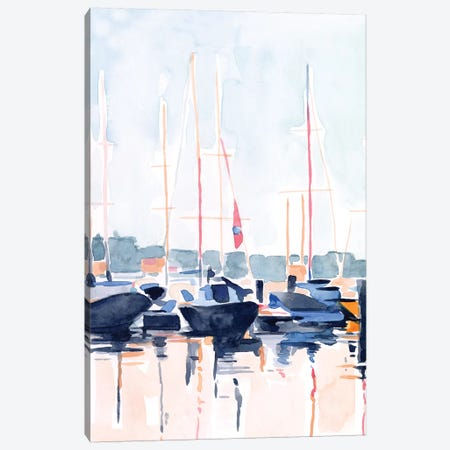 Watercolor Boat Club II Canvas Print #EMS259} by Emma Scarvey Canvas Art Print