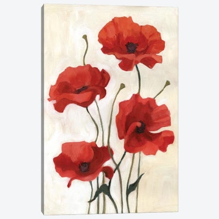 Poppy Bouquet III Canvas Print #EMS25} by Emma Scarvey Canvas Wall Art