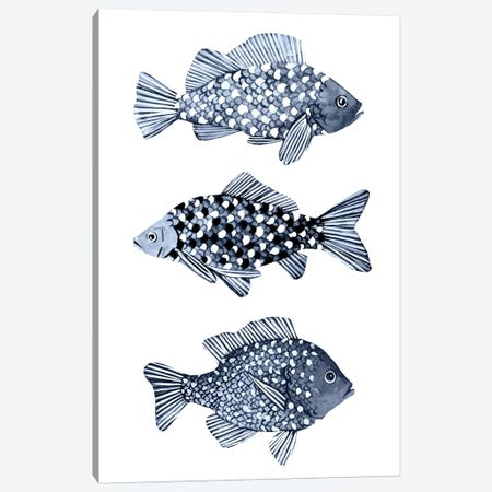 Blue Fish I Canvas Print #EMS271} by Emma Scarvey Canvas Art Print