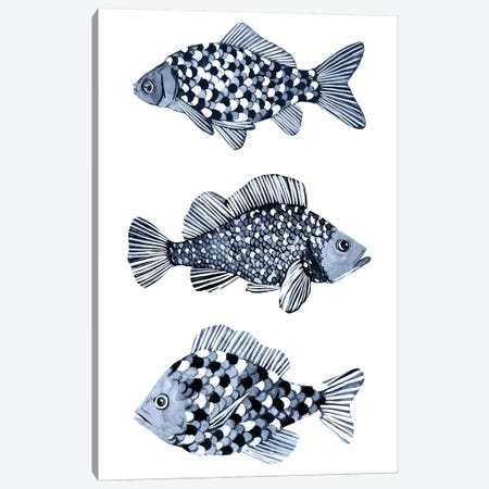 Blue Fish II Canvas Print #EMS272} by Emma Scarvey Art Print