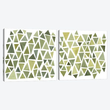 Celadon Geometry Diptych Canvas Print Set #EMS2HSET004} by Emma Scarvey Canvas Wall Art