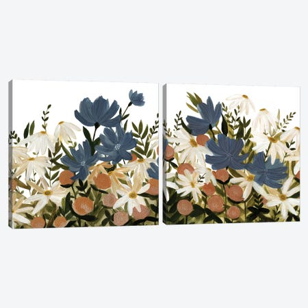 Wildflower Garden Diptych Canvas Print Set #EMS2HSET007} by Emma Scarvey Canvas Art
