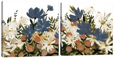 Wildflower Garden Diptych Canvas Art Print