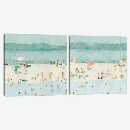 Sea Glass Sandbar Diptych Canvas Print Set #EMS2HSET010} by Emma Scarvey Canvas Artwork