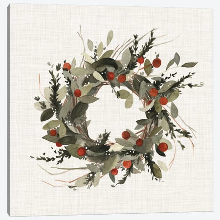 Farmhouse Wreath I Canvas Print #EMS57} by Emma Scarvey Art Print