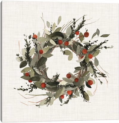 Farmhouse Wreath I Canvas Art Print