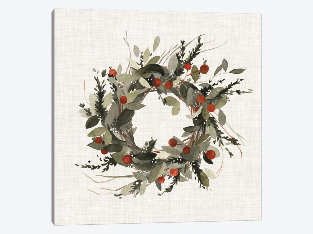 Farmhouse Wreath I by Emma Scarvey 1-piece Canvas Artwork