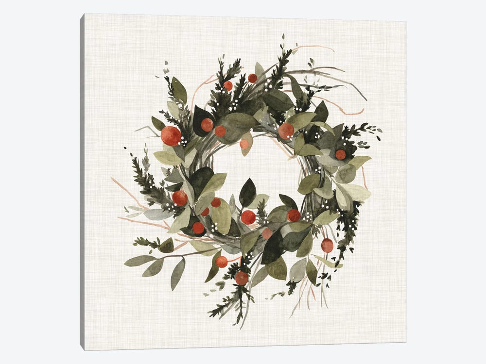 Farmhouse Wreath II by Emma Scarvey 1-piece Canvas Art Print
