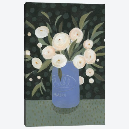 Mason Jar Bouquet I Canvas Print #EMS63} by Emma Scarvey Canvas Art Print