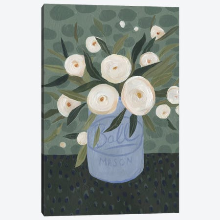 Mason Jar Bouquet III Canvas Print #EMS65} by Emma Scarvey Canvas Art