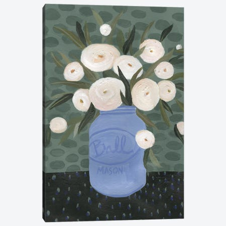 Mason Jar Bouquet IV Canvas Print #EMS66} by Emma Scarvey Canvas Art