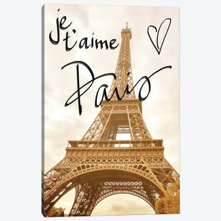 Je t'aime Paris Canvas Print #ENA16} by Emily Navas Canvas Print