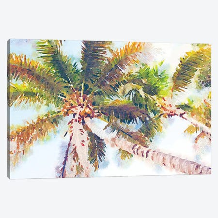 Sideway Watercolor Palms II Canvas Print #ENA46} by Emily Navas Canvas Wall Art