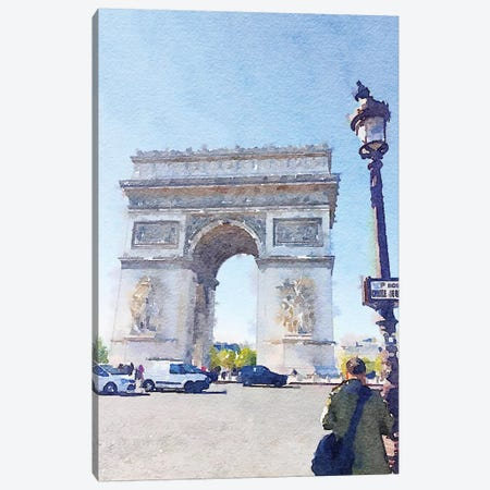 Watercolor Streets of Paris I Canvas Print #ENA51} by Emily Navas Canvas Wall Art