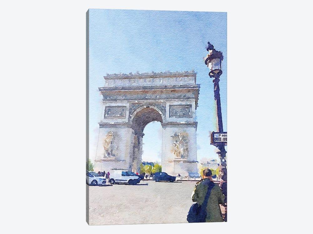 Watercolor Streets of Paris I by Emily Navas 1-piece Canvas Artwork