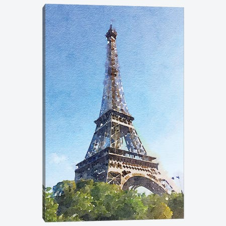 Watercolor Streets of Paris II Canvas Print #ENA52} by Emily Navas Canvas Wall Art