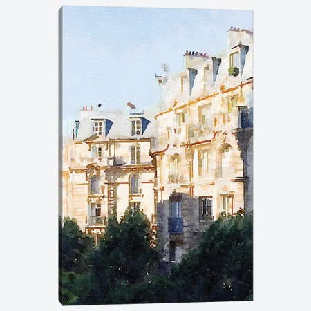 Watercolor Streets of Paris III Canvas Print #ENA53} by Emily Navas Canvas Art