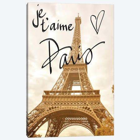 Je T'Aime Paris Canvas Print #ENA57} by Emily Navas Canvas Art Print