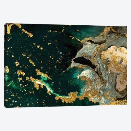 Teal Ocean Marble Canvas Print #ENS13} by EnShape Canvas Art