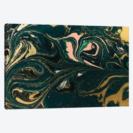 Salmon Gold Green Marble Canvas Print #ENS15} by EnShape Canvas Art Print
