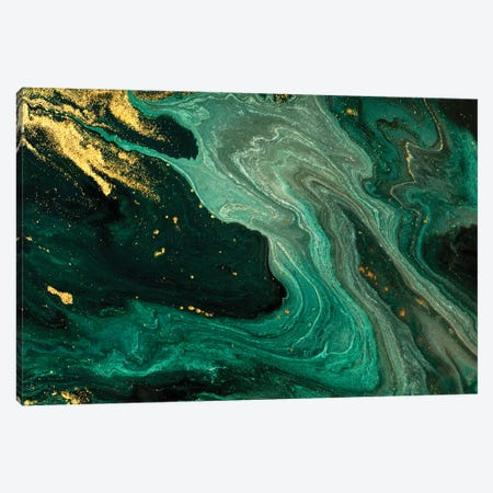 Gold Mine Green Marble Canvas Print #ENS22} by EnShape Canvas Art Print