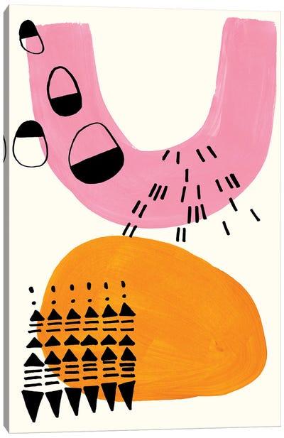 Pink Folk Canvas Art Print
