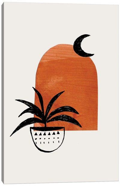Raw Umber Moon Plant Canvas Art Print