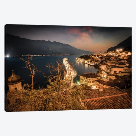 Limone Sul Garda By Night Canvas Print #ENZ105} by Enzo Romano Canvas Art