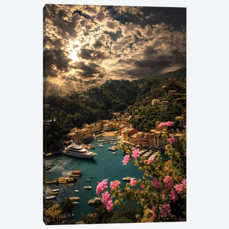 Panorama Of Portofino Canvas Print #ENZ128} by Enzo Romano Canvas Print
