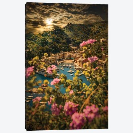 Portofino With Flowers Canvas Print #ENZ130} by Enzo Romano Canvas Wall Art