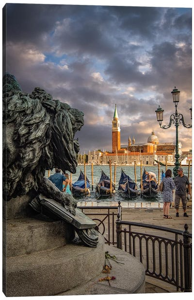 Lion With San Giorgio Church Canvas Art Print