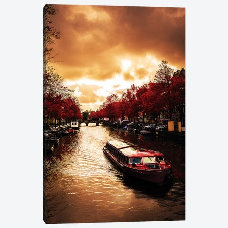 Red Leaves In Amsterdam Canvas Print #ENZ23} by Enzo Romano Canvas Artwork