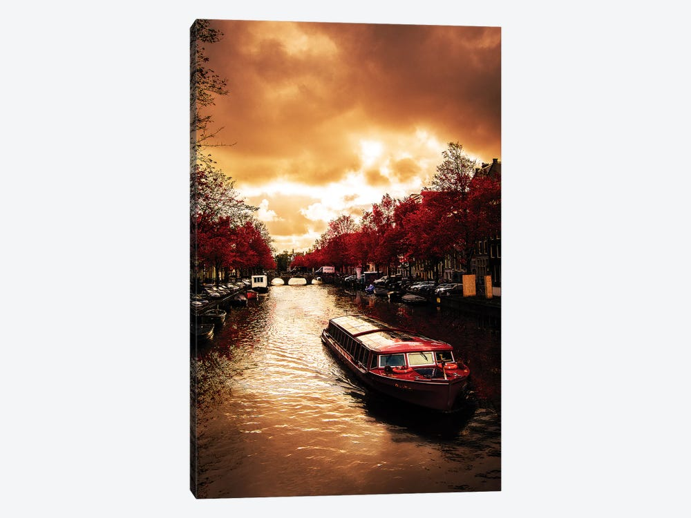 Red Leaves In Amsterdam by Enzo Romano 1-piece Canvas Print