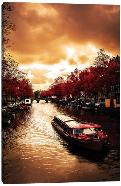 Red Leaves In Amsterdam Canvas Art Print