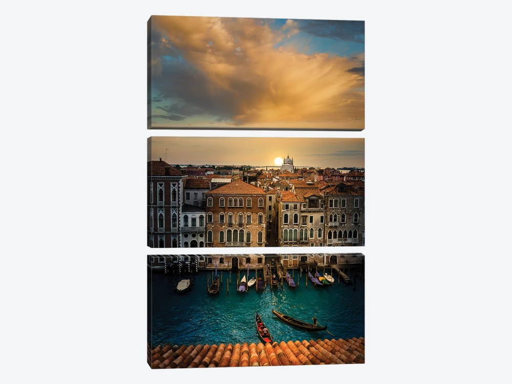 Sunset In Venice by Enzo Romano 3-piece Canvas Print