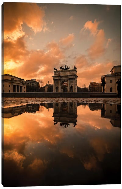 Arco Della Pace Sunset Canvas Art Print