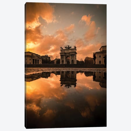Arco Della Pace Sunset Canvas Print #ENZ32} by Enzo Romano Canvas Art Print