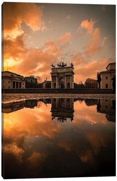 Arco Della Pace Sunset Canvas Art Print
