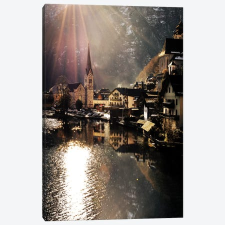 Hallstatt Sunlight Canvas Print #ENZ35} by Enzo Romano Canvas Art