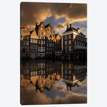 Amsterdam Houses Canvas Print #ENZ53} by Enzo Romano Canvas Print