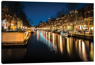 Amsterdam By Night Canvas Art Print