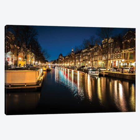 Amsterdam By Night Canvas Print #ENZ55} by Enzo Romano Canvas Artwork