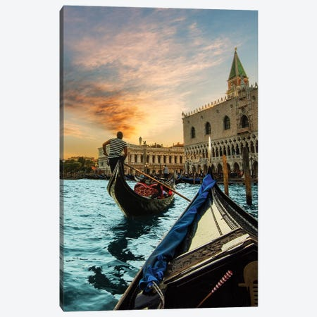 Gondola Ride Canvas Print #ENZ66} by Enzo Romano Canvas Art Print