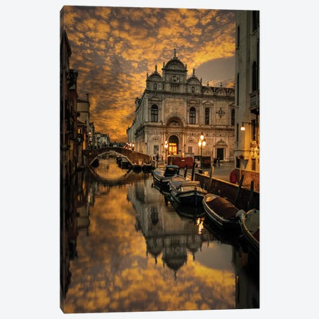 Rainy Day In Venice Canvas Print #ENZ70} by Enzo Romano Art Print
