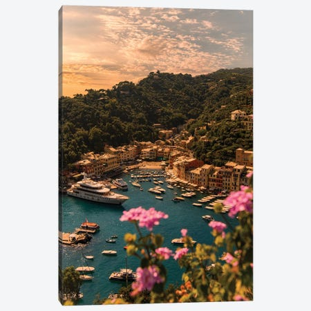 Portofino with flower Canvas Print #ENZ85} by Enzo Romano Art Print